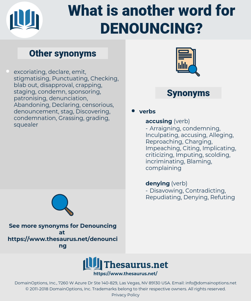 Denouncing, synonym Denouncing, another word for Denouncing, words like Denouncing, thesaurus Denouncing
