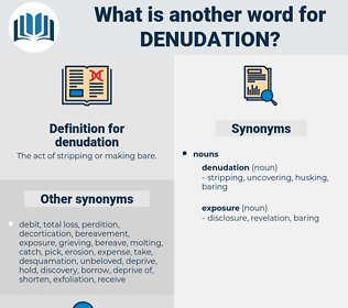 denudation, synonym denudation, another word for denudation, words like denudation, thesaurus denudation