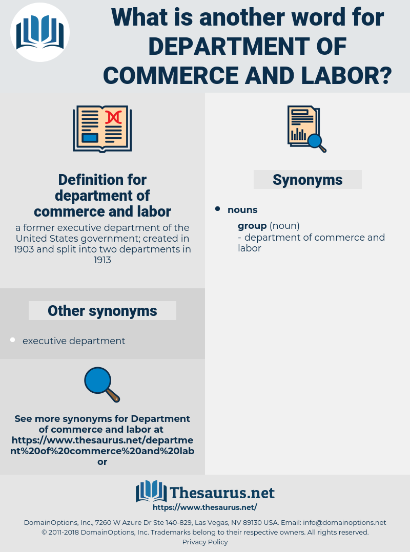 department of commerce and labor, synonym department of commerce and labor, another word for department of commerce and labor, words like department of commerce and labor, thesaurus department of commerce and labor