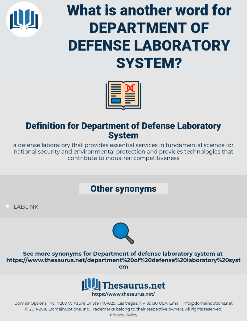 Department of Defense Laboratory System, synonym Department of Defense Laboratory System, another word for Department of Defense Laboratory System, words like Department of Defense Laboratory System, thesaurus Department of Defense Laboratory System