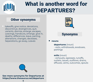 departures, synonym departures, another word for departures, words like departures, thesaurus departures