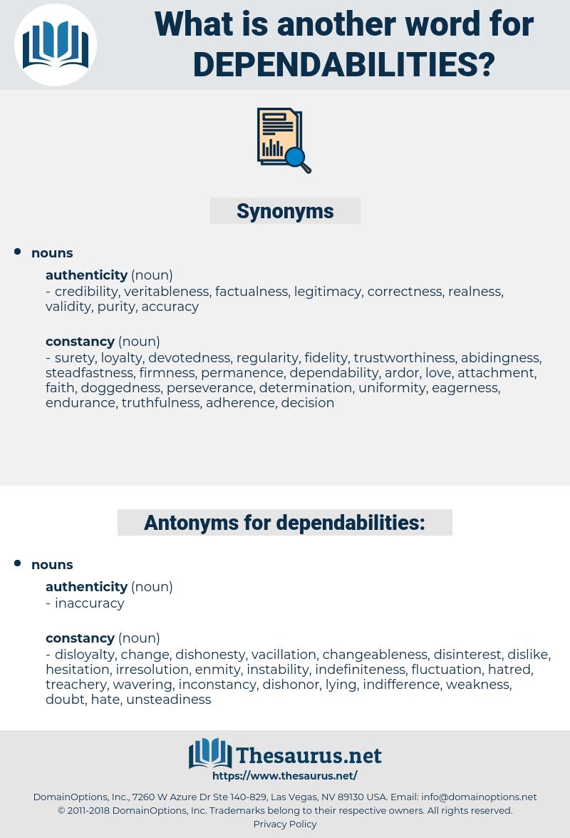 dependabilities, synonym dependabilities, another word for dependabilities, words like dependabilities, thesaurus dependabilities