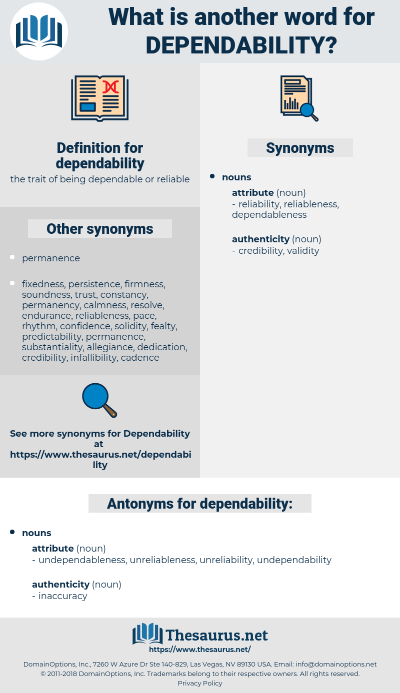 dependability, synonym dependability, another word for dependability, words like dependability, thesaurus dependability