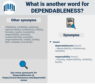 dependableness, synonym dependableness, another word for dependableness, words like dependableness, thesaurus dependableness