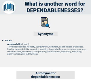 dependablenesses, synonym dependablenesses, another word for dependablenesses, words like dependablenesses, thesaurus dependablenesses