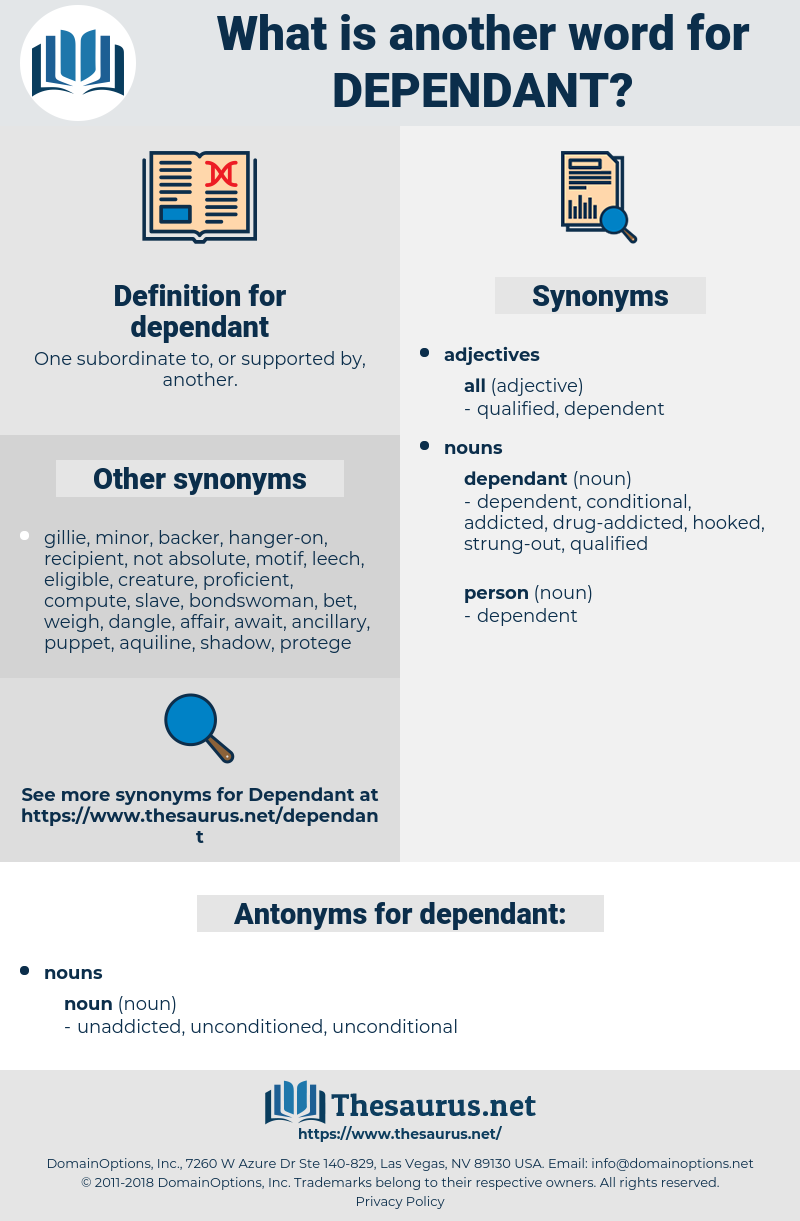 dependant, synonym dependant, another word for dependant, words like dependant, thesaurus dependant