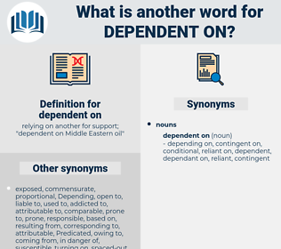 dependent on, synonym dependent on, another word for dependent on, words like dependent on, thesaurus dependent on