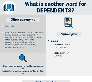 dependents, synonym dependents, another word for dependents, words like dependents, thesaurus dependents