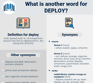 deploy, synonym deploy, another word for deploy, words like deploy, thesaurus deploy