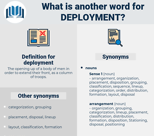 deployment, synonym deployment, another word for deployment, words like deployment, thesaurus deployment