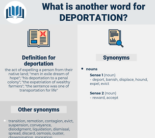 deportation, synonym deportation, another word for deportation, words like deportation, thesaurus deportation