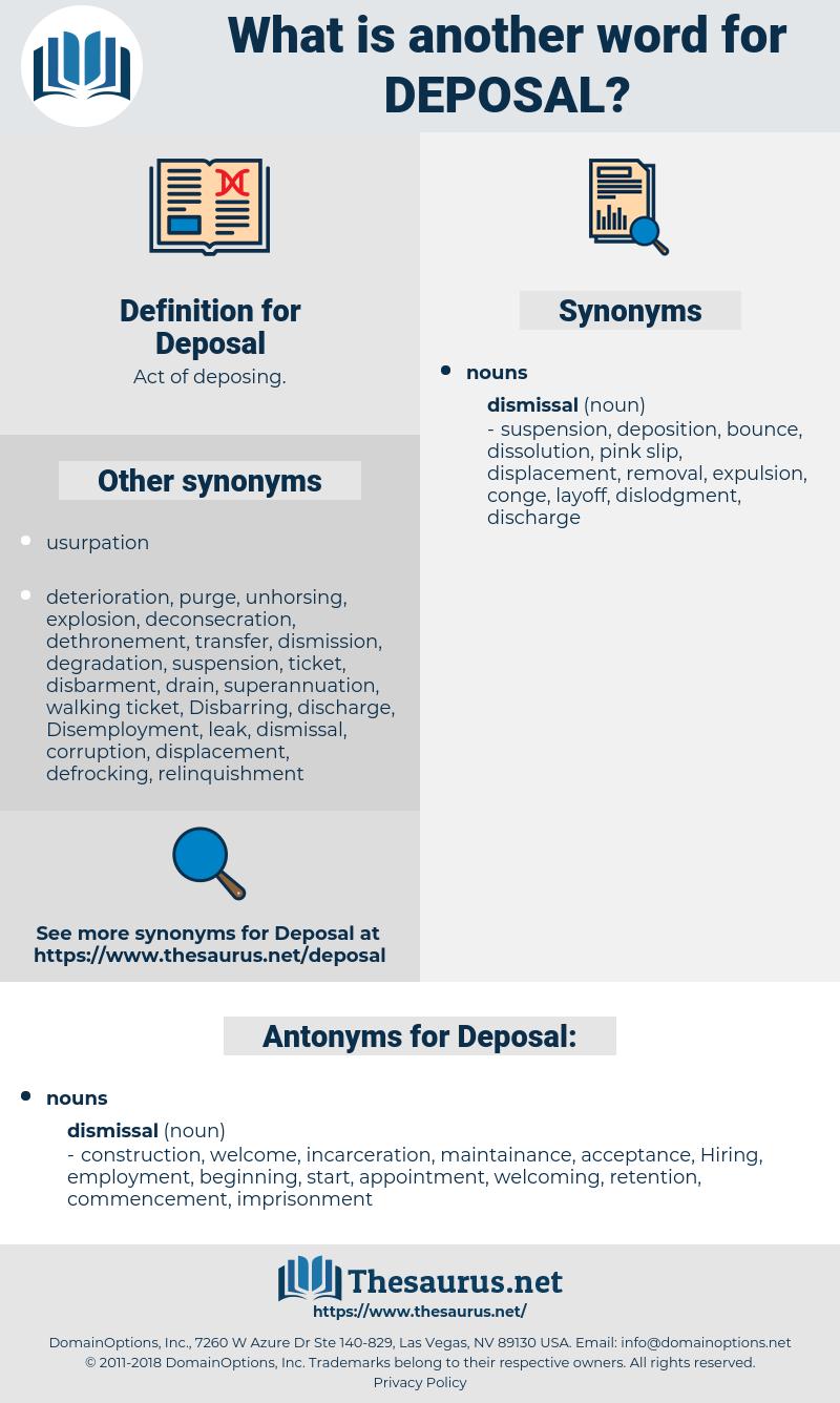 Deposal, synonym Deposal, another word for Deposal, words like Deposal, thesaurus Deposal