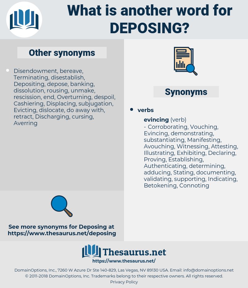 Deposing, synonym Deposing, another word for Deposing, words like Deposing, thesaurus Deposing