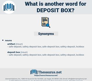 deposit box, synonym deposit box, another word for deposit box, words like deposit box, thesaurus deposit box