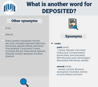 Deposited, synonym Deposited, another word for Deposited, words like Deposited, thesaurus Deposited