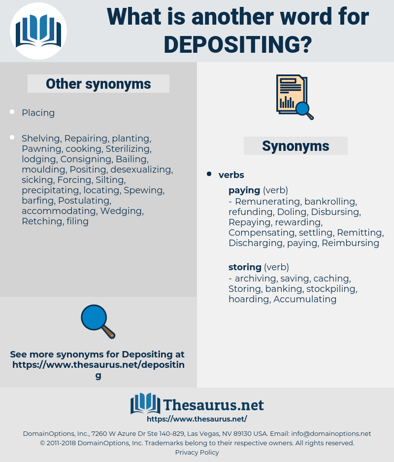 Depositing, synonym Depositing, another word for Depositing, words like Depositing, thesaurus Depositing