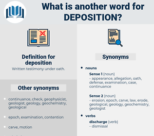 deposition, synonym deposition, another word for deposition, words like deposition, thesaurus deposition