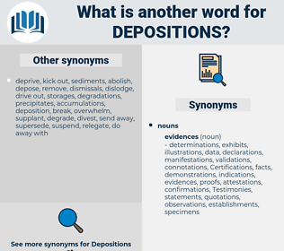 depositions, synonym depositions, another word for depositions, words like depositions, thesaurus depositions