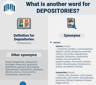 Depositories, synonym Depositories, another word for Depositories, words like Depositories, thesaurus Depositories