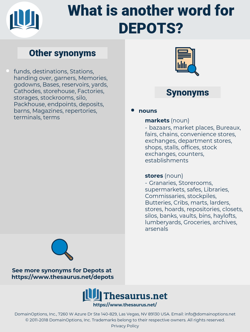 depots, synonym depots, another word for depots, words like depots, thesaurus depots