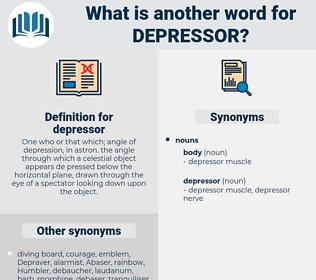 depressor, synonym depressor, another word for depressor, words like depressor, thesaurus depressor