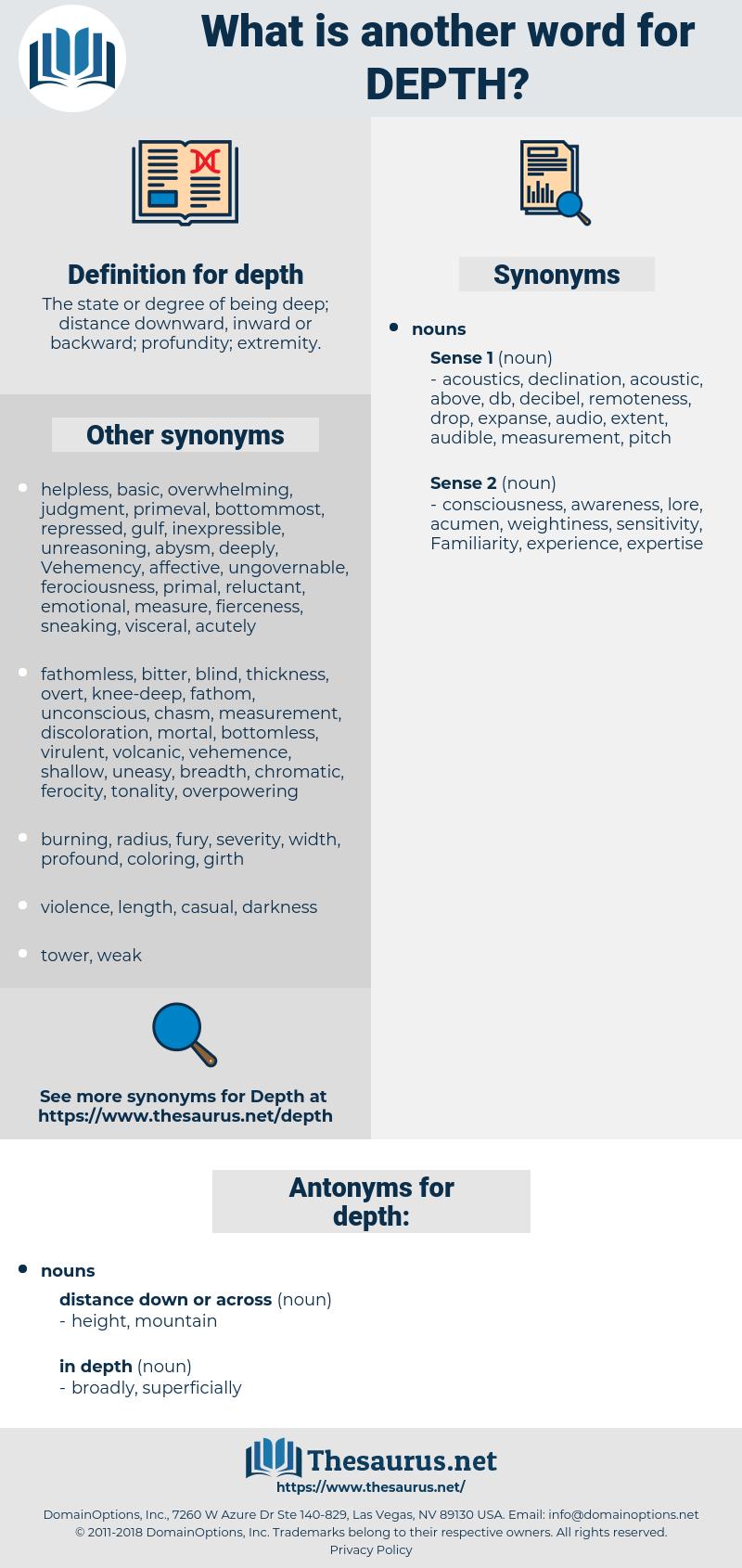 depth, synonym depth, another word for depth, words like depth, thesaurus depth