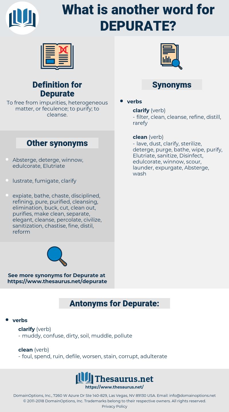 Depurate, synonym Depurate, another word for Depurate, words like Depurate, thesaurus Depurate