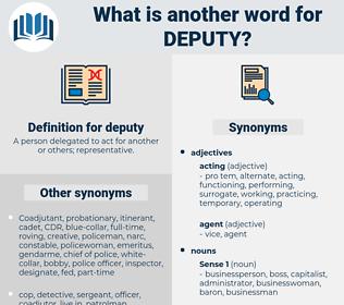 deputy, synonym deputy, another word for deputy, words like deputy, thesaurus deputy