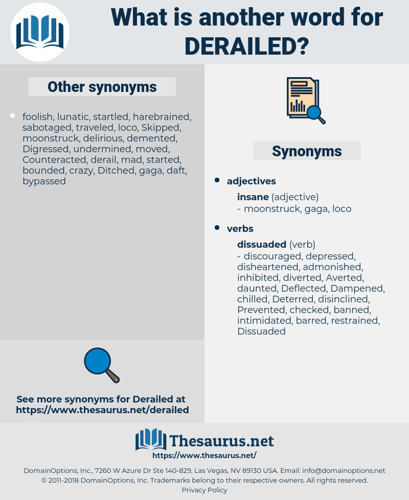 Derailed, synonym Derailed, another word for Derailed, words like Derailed, thesaurus Derailed