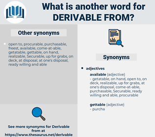 derivable from, synonym derivable from, another word for derivable from, words like derivable from, thesaurus derivable from