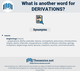 derivations, synonym derivations, another word for derivations, words like derivations, thesaurus derivations