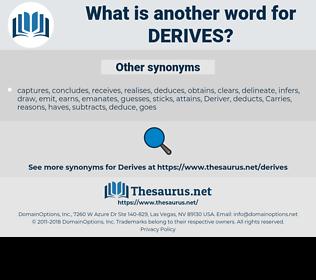 derives, synonym derives, another word for derives, words like derives, thesaurus derives