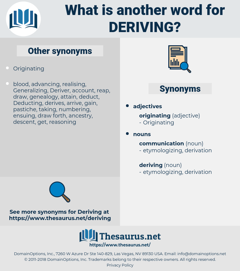 deriving, synonym deriving, another word for deriving, words like deriving, thesaurus deriving