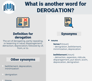derogation, synonym derogation, another word for derogation, words like derogation, thesaurus derogation