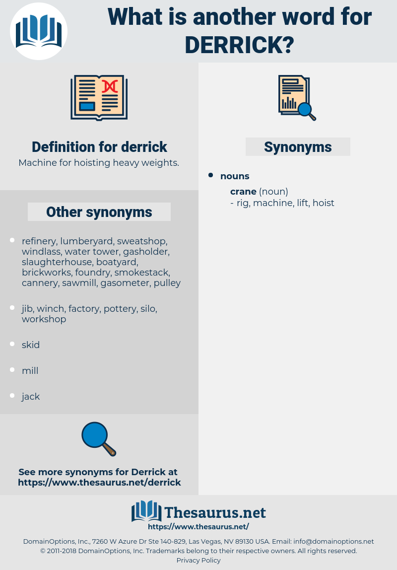derrick, synonym derrick, another word for derrick, words like derrick, thesaurus derrick