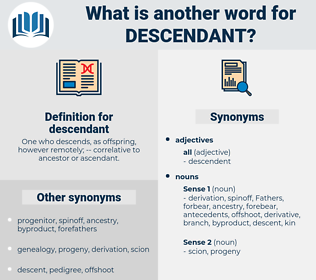 descendant, synonym descendant, another word for descendant, words like descendant, thesaurus descendant