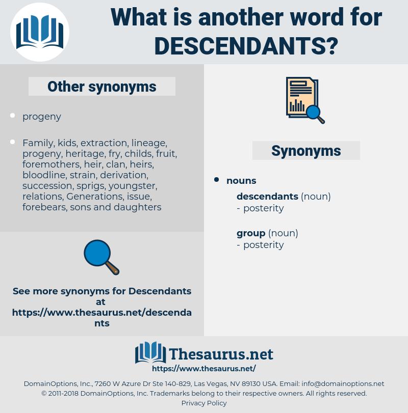 descendants, synonym descendants, another word for descendants, words like descendants, thesaurus descendants