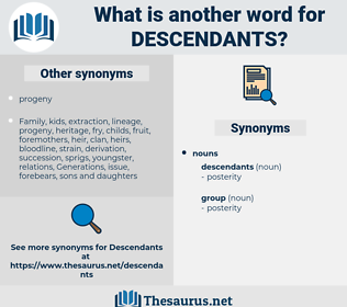 descendants, synonym descendants, another word for descendants, words like descendants, thesaurus descendants