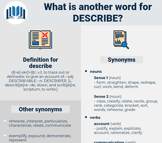 describe, synonym describe, another word for describe, words like describe, thesaurus describe