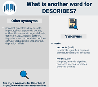 describes, synonym describes, another word for describes, words like describes, thesaurus describes
