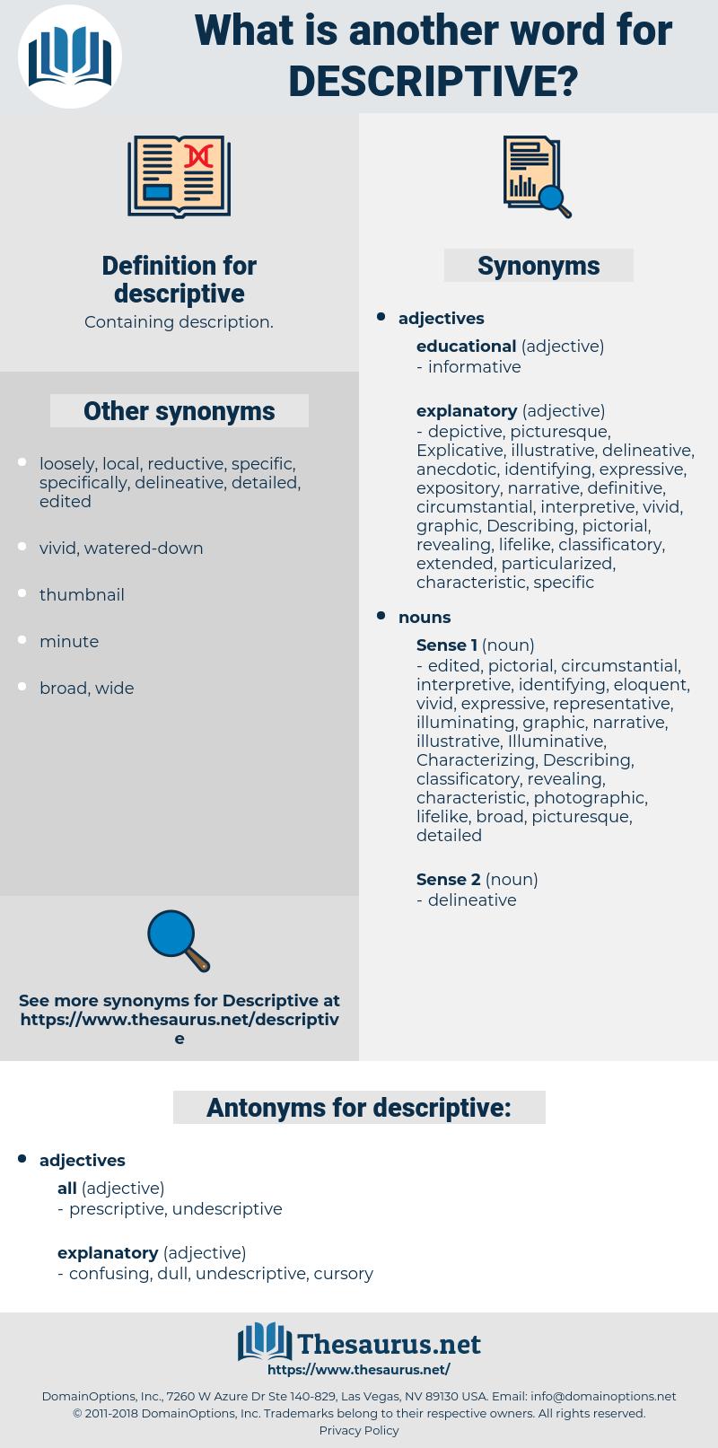 descriptive, synonym descriptive, another word for descriptive, words like descriptive, thesaurus descriptive