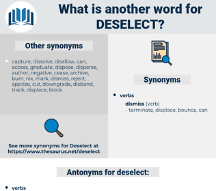 deselect, synonym deselect, another word for deselect, words like deselect, thesaurus deselect