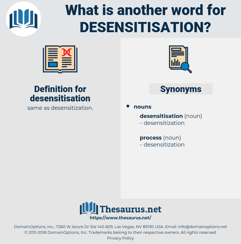 desensitisation, synonym desensitisation, another word for desensitisation, words like desensitisation, thesaurus desensitisation