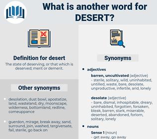 desert, synonym desert, another word for desert, words like desert, thesaurus desert
