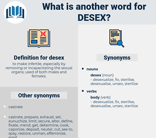 desex, synonym desex, another word for desex, words like desex, thesaurus desex