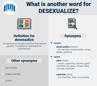 desexualize, synonym desexualize, another word for desexualize, words like desexualize, thesaurus desexualize