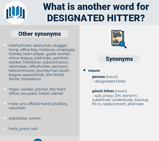 designated hitter, synonym designated hitter, another word for designated hitter, words like designated hitter, thesaurus designated hitter