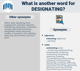 Designating, synonym Designating, another word for Designating, words like Designating, thesaurus Designating