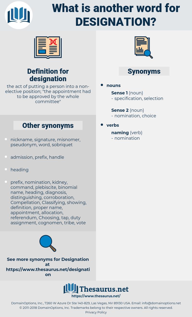 designation, synonym designation, another word for designation, words like designation, thesaurus designation