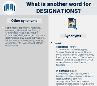 designations, synonym designations, another word for designations, words like designations, thesaurus designations